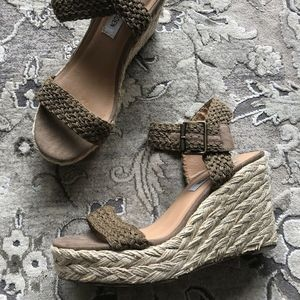 Steve Madden Tan Braided Espadrille Woven Wedges